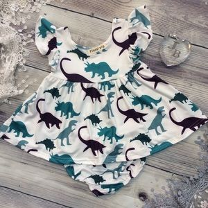 Other - Boutique Baby Girls Dinosaur Mini Dress 2pc